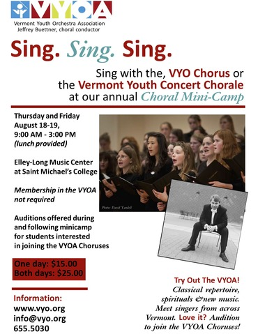 Yermont Youth Orchestra chorus auditions via ACDA